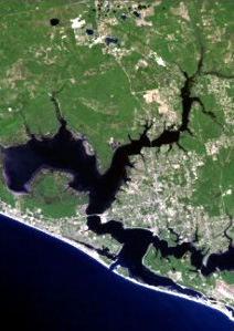 Satellite view of Panama City Florida